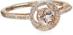 10k Rose Gold Morganite Center and Diamond (1/10cttw, I-J Color, I2-I3 Clarity) Halo Ring, Size 7 Amazon Collection