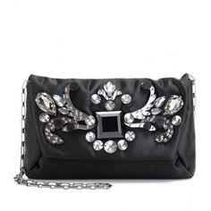 Lanvin Crystal Bead Embellished Satin Clutch ($1,191) ❤ liked on Polyvore featuring bags, handbags, clutches, purses, bolsas, noir, green handbags, satin clutches, evening clutches e black purse