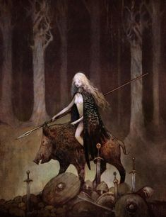 Freya riding her boar Hildisvíni (battle swine)…