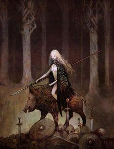 Freya riding her boar Hildisvíni (battle swine). http://en.wikipedia.org/wiki/Hildisv%C3%ADni http://guthbrand.tumblr.com/