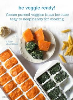 Are you veggie to go? Freeze pureed veggies so they're handy for recipes and for adding extra flavor (and fiber!) to soups, baked goods, smoothies, pasta sauces, and more!