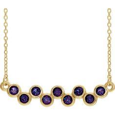 Bonyak Jewelry 18 Inch Rhodium Plated Necklace w// 4mm Purple February Birth Month Stone Beads and Saint Elizabeth of The Visitation Charm