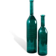 Dev Hollywood Regency Teal Hand-Blown Glass Bottles - Set of 2 ($223) ❤ liked on Polyvore featuring home, kitchen & dining, serveware, glass serveware, glass bottle set, blown glass bottle, glass bottles and colored glass bottles