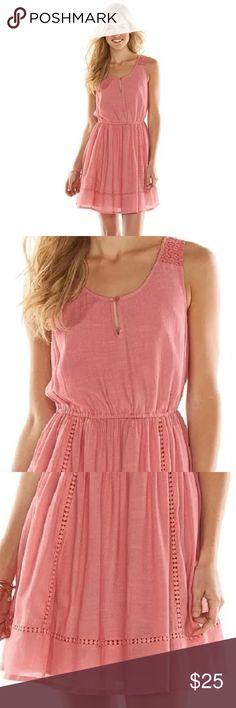 NWT LC Lauren Conrad peasant tank dress pink coral New with tags.  Super cute! LC Lauren Conrad Dresses