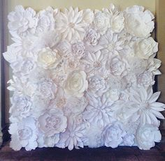 Handmade Paper Flower Wall backdrop/photo by PaperPoshEvents1