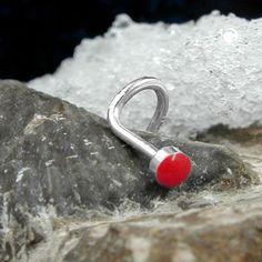 Nasenstecker, rot, Haken, Silber 925 accessorize24-91142