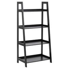 Solid Wood Shelves, Large Shelves, Bookcase Shelves, Ladder Bookcase, Display Shelves, Bookcase White, Black Ladder Shelf, Storing Books, Home Trends