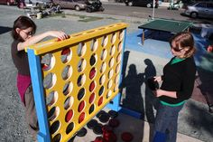 Huge connect four game for a school playground or lucky kid's backyard. What a fun way to bring learning outside and spice up recess