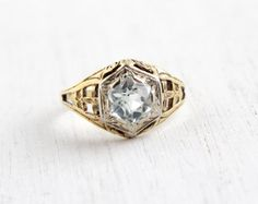 Antique 14k Yellow & White Gold Aquamarine Ring  by MaejeanVintage, $350.00