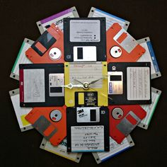 Floppy Disk Wall Clock // #Upcycle This! 10 Ways to Reuse Floppy Disks  Could work with any electronic components.