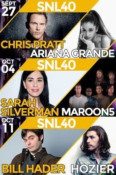 Chris Pratt, Sarah Silverman, and Bill Hader open #SNL Season 40 with musical guests Ariana Grande, Maroon 5, and Hozier!