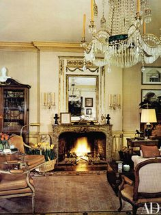 Designer Anthony Hail's San Francisco apartment boasts an artfully boasts an artfully composed collection of antiques. The designer devised an elegant living room punctuated with pieces including the mantel, trumeau, and chandelier