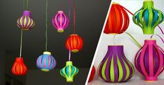 New Year's Crafts, Diy Arts And Crafts, Crafts For Kids, Paper Crafts, Chinese New Year Decorations, Diy Diwali Decorations, Diwali Diy, Diwali Craft, Japanese Paper Lanterns