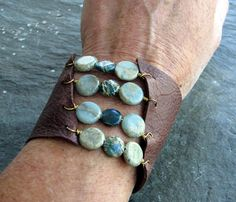 Leather and bead bracelet, featuring Snake skin Jasper beads