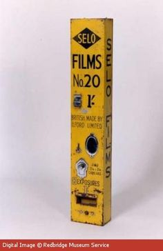 Ilford Limited film dispenser.  #ilford #IlfordLimited #Camera Photographic Film, Shoot Film, Vending Machines, Ads, Retro, Bottle, Cameras, Campaign, Photography