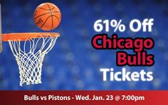$24 (61% off) Chicago Bulls Tickets vs Detroit Pistons Wed. Jan. 23 @ 7:00pm - Crowd Seats Cheap Sports Tickets