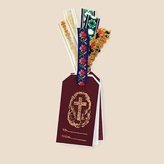 Vaticano seasonal hand-stamped gift-tags with vintage trims
