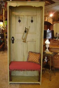 Hall Tree & Bench Once just an old door and a pair of shutters, now a stylish hall tree and bench | apparel