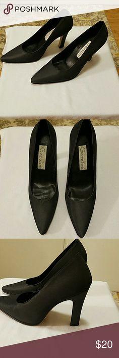 "Garolini Satin Heels Size 6 1/2 medium. 3"" heels Color more like a charcoal gray. These are beautiful heels  EUC. Garolini Shoes Heels"