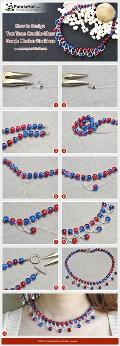 How to Make Two Tone Crackle Glass Beads Choker Necklace The main materials of the necklace are two tone crackle glass beads, rainbow glass seed beads and nylon threads. The special sea wave pattern gives the necklace unique beauty! #pandahall #pandahalljewelry #diy #tutorial #pandahalldiy #promotion #necklace