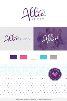 Purple and pink moodboard. Purple, teal and pink branding ideas. Brand designer for photographer. Photographer Business Cards, Photographer Branding, Business Branding, Corporate Branding, Personal Branding, Logo Inspiration, Brand Identity Design, Identity Branding, Brand Design