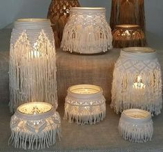 Lanterna o Vaso in Macramè centrotavola arredo casa