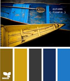 Olivey brown, mustard yellow, dark gray, navy and bright blue.