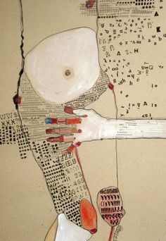 """This """"Body"""" series is really beautiful. I just love mixed media, especially with text. Saatchi Online Artist: Kasia Gawron; Paper, 2012, Mixed Media """"BODY 1"""""""