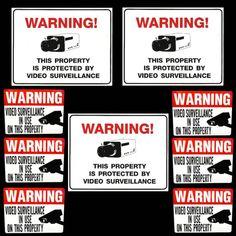Warning Digital Camera Surveillance Rectangular Sticker Digital - Window stickers for home security