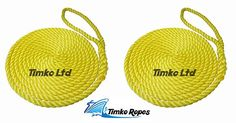 2 x 6 MTS OF 16MM YELLOW SOFTLINE MOORING ROPES WARPS LINES BOATS