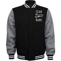 Personalized Rugby Coach Fleece Varsity Jacket | Available in other styles & colors.