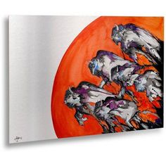 Trademark Fine Art Out Of A Rising Sun Canvas Art by Marc Allante, Floating Brushed Aluminum 16x22, Orange