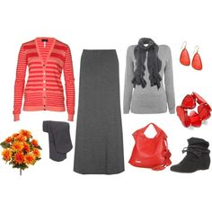 gray and coral maxi skirt outfit...replace the boots with a killer pair of heels!