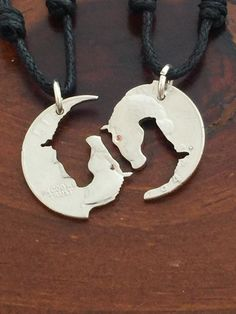 Yin yang horse heads, family and friends jewelry, friendship pendants,puzzle cut coin by MagnificentCoins on Etsy
