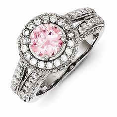 Sterling Silver Round Pink & White CZ Ring, Size Jewelry Rings for Women Wedding Night, Wedding Bride, Silver Rounds, Sterling Silver Rings, Pink White, Bracelet Watch, Jewelry Rings, Wedding Rings, Bling
