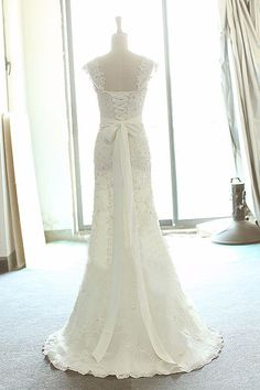 long wedding dress ,cap sleeves wedding dress,lace up back wedding dress,formal…