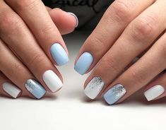 Chic und Trendy OPI Nagellack Designs Nail Polish nail polish for babies Pastel Blue Nails, Blue Gel Nails, Blue And White Nails, White Glitter Nails, Light Blue Nails, Nail Art Blue, Bleu Pastel, Short Nails Shellac, White Shellac Nails