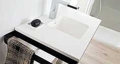 Porcelanosa  Wall-hung washbasin with counter  MODUL