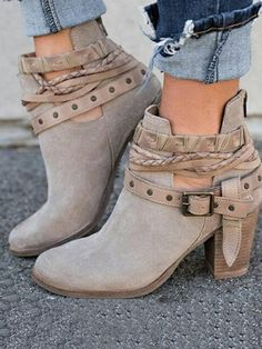 f69b4e5d8ad0 Fashion Buckle Mid-heel Ankle Chelsea Boots Shoes
