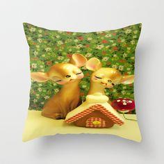 The Gingerbread Haus Throw Pillow by Vintage  Cuteness - $20.00 #vintage #gingerbread #haus #mushroom #floral #flowers #european #german #kitsch #pillow #nursery #xmas #christmas #children's #deer #doe #fawn
