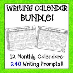 Writing Calendar Bundle: Writing Calendars include 240 Writing Prompts, 48 Seasonal Papers and more!