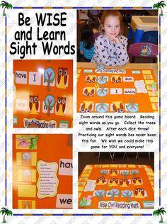 Owl SIGHT WORD Game Kindergarten Writing, Kindergarten Activities, Literacy, Preschool, Sight Word Games, Sight Word Activities, Sight Words, Owl Classroom, Classroom Ideas