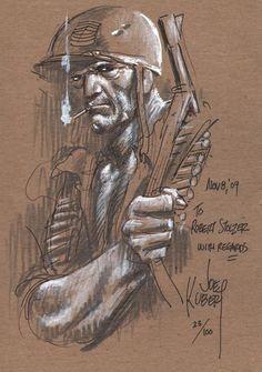joe kubert – Joe Kubert Never Dies Comic Book Artists, Comic Artist, Comic Books Art, Joe Kubert, Novel Characters, War Comics, Toned Paper, Classic Comics, American Comics