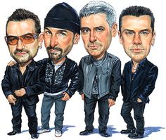 U2 ( Bono, The Edge, Adam Clayton, Larry Mullen Jr. ) ...by ExaggerArt.com