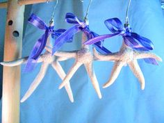 Starfish from the sea, well not quite. This set of three star fish have been hand crafted from polymer clay. They would be perfect for