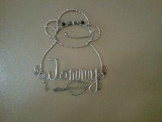 Monkey wire name hanger by LisaAnneBennett on Etsy, $20.00