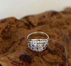 Vintage Textured Sterling Silver Domed Ring by cottagetocastle