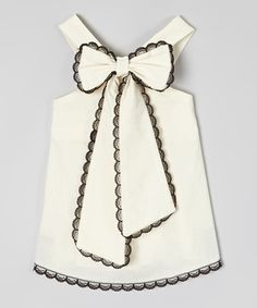 Little Miss Fashion Ivory & Black Scalloped-Lace Top - Infant, Toddler & TweenThis all-cotton halter top features a bow at the neckline and scalloped lace detailing. Thick yet plush straps provide a comfortable fit. Size note: This item runs small. Fashion Kids, Little Girl Fashion, My Little Girl, My Baby Girl, Little Miss, Latest Fashion, Fashion 2016, Fall Fashion, Toddler Outfits