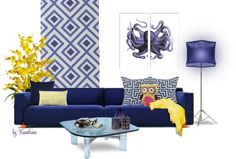 83. Octopus by xiandrina featuring colored tealight candlesFoscarini reading lamp / Octopus wall art / La Fiorentina geometric pattern wallpaper, $140 / Nearly Natural fake flower / Blue green throw pillow / Trina Turk LA modern home decor / Lene Bjerre navy blue throw pillow, $100 / Pink toss pillow / Fornasetti candles candleholder / Muuto colored tealight candle, $22