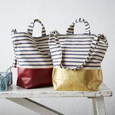 We partnered with the designers at Baggu to create this duck tote bag, weekender bag and iPad® case. Available in a variety of two-toned and striped colors, this collection is simple, stylish, and durable.